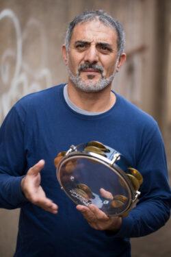 Faisal Zedan with the Arabic riqq. Photo courtesy the artist.