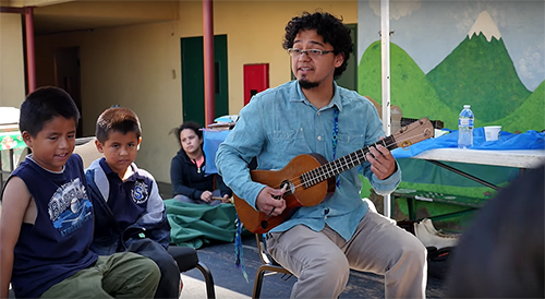 Son Jarocho musician Cesar Castro works with youth as part of the BHC Boyle Heights program.