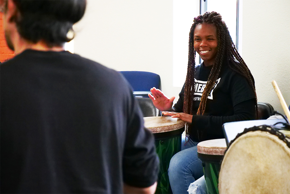 Reentry Through the Arts Afro-Colombian drumming class at Homeboy Industries.