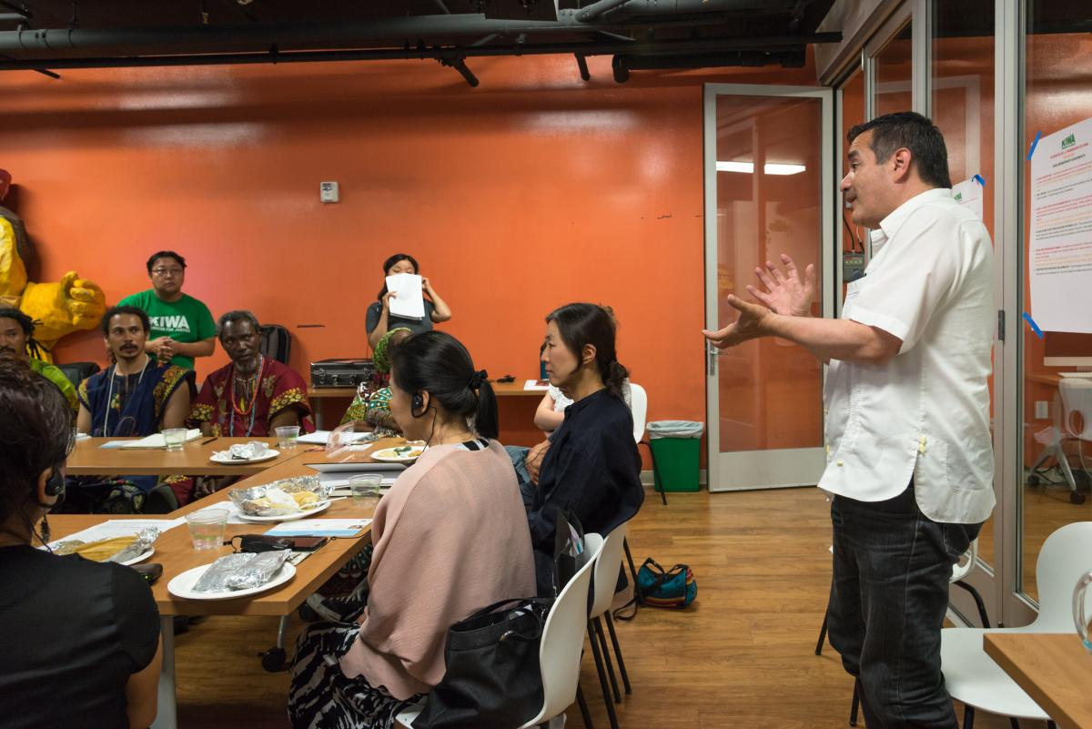 Russell shares his experience working across cultures at L.A. Uprising: 25 Years Later, a Traditional Arts Roundtable in Koreatown - June 2017. Farah Sosa/ACTA.