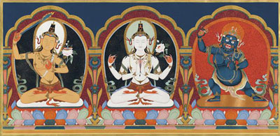 Avalokiteswora, Manjushree and Vajrapani, a thangka painting by master artist Ang Tsherin Sherpa