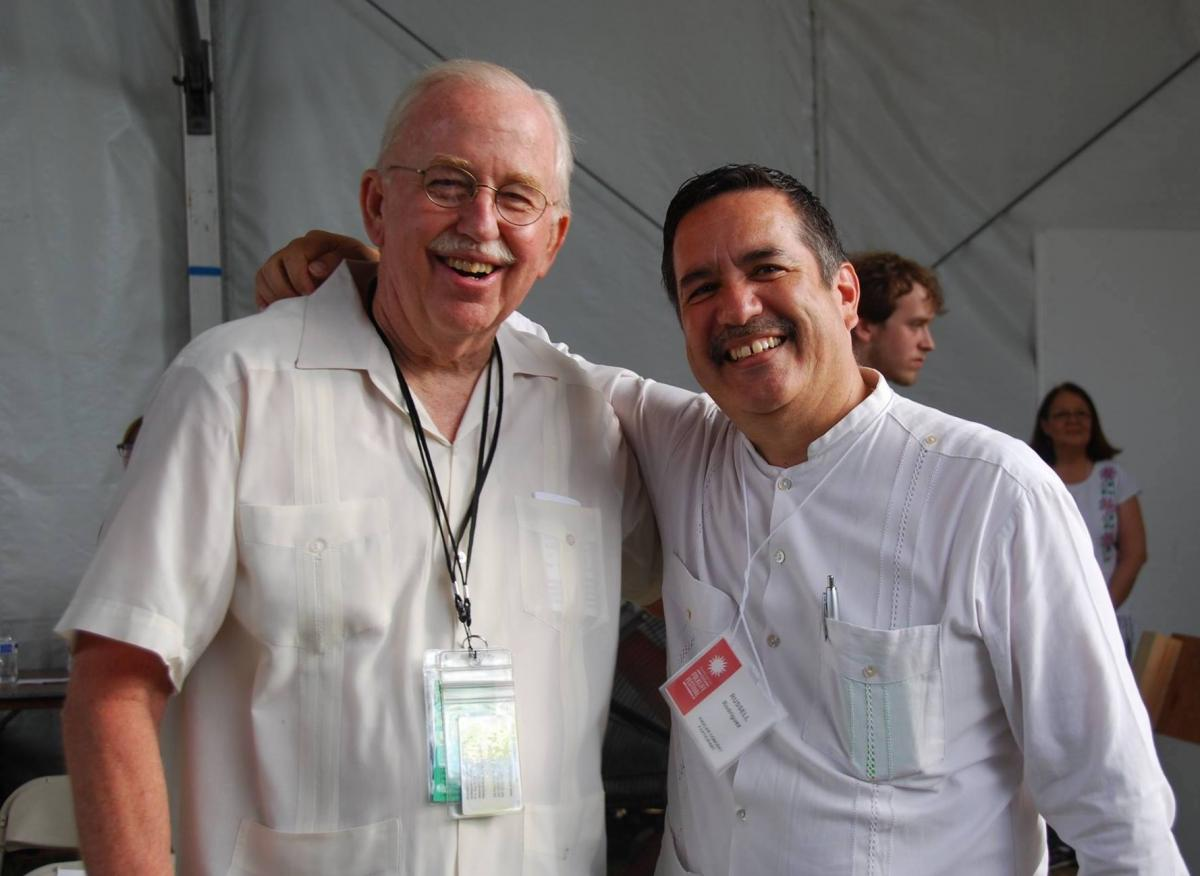 ACTA Board President Dan Sheehy (L) and Russell Rodríguez are long time friends who share a love of Mariachi musicianship and scholarship. Pictured the co-hosting the Ralph Rinzler memorial concert at the 2015 Smtihsonian Folklife Festival in Washington, D.C. Photo: Lily Kharrazi/ACTA.